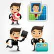 Set of funny cartoon office worker go to travel — Stock Vector #12035289