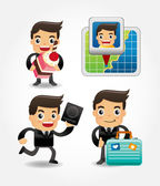 Set of funny cartoon office worker go to travel — Stock Vector