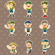 Boy and girl scout  stickers - Stock Vector
