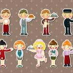 Cartoon waiter and waitress stickers — Stock Vector #12092686