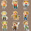 Cowboy stickers - Stock Vector