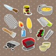 Stock Vector: Bbq tools stickers