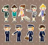 Cartoon flight attendant and pilot stickers — Stock Vector
