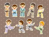 Cartoon Karate Player stickers — Stock Vector