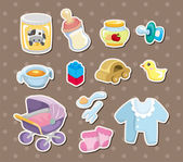 Baby stuff stickers — Stock Vector