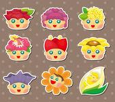 Cartoon flower fairy stickers — Stock Vector