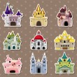 Cartoon Fairy tale castle stickers — Stockvektor