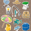 Stock Vector: Fishing stickers