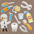 Stock Vector: Cartoon dentist tool stickers