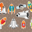 Stock Vector: Spaceship stickers
