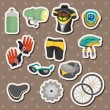Stock Vector: Cartoon bicycle equipment stickers