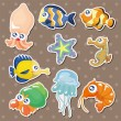 Cartoon fish collection stickers - Stock Vector