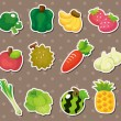 Cartoon Fruits and Vegetables icon set - Stock Vector
