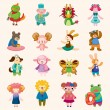 16 cute animal icons set - Stock Vector
