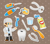 Cartoon dentist tool stickers — Stock Vector