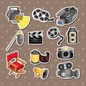 Cartoon movie equipment icon set — Stock Vector