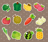 Cartoon Fruits and Vegetables icon set — Stock Vector