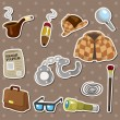 Cartoon detective equipment stickers - Stock Vector