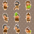 Cartoon Caveman stickers - Stock Vector