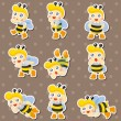 Cartoon bee boy stickers — Stock Vector