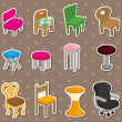 Cartoon chair furniture stickers — Stock Vector