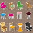 Cartoon chair furniture stickers - Stock Vector