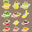 Set of fresh fruit and ruler health  stickers - Stock Vector