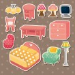 Cute cartoon furniture stickers — Stock Vector #12306701