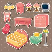 Cute cartoon furniture stickers — Stock Vector