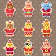 Stock Vector: Xmas animal stickers