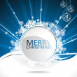 Blue vector Christmas design background with text space. — ストックベクタ