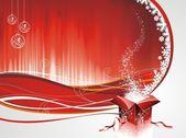 Vector design natale con scatola regalo su sfondo rosso. — Vettoriale Stock