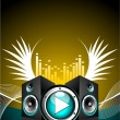 Vector illustration for musical theme with speakers and wing — Stock Vector