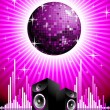 Vector illustration for musical theme with speakers and disco ball. — Stock Vector