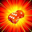 Stock Vector: Vector Gambling illustration with two red dice on shiny background.