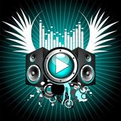 Vector illustration for musical theme with play button and speakers — Stock Vector