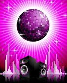 Vektor illustration för musikaliska tema med högtalare och discokula. — Stockvektor
