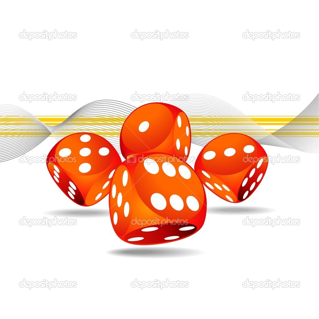 Vector gambling illustration with four red dice — Stock Vector #12081173