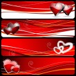 Four banner graphic with Valentine — Stock Vector