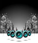 Vector speakers with grunge floral elements on a dark background. — Stockvektor