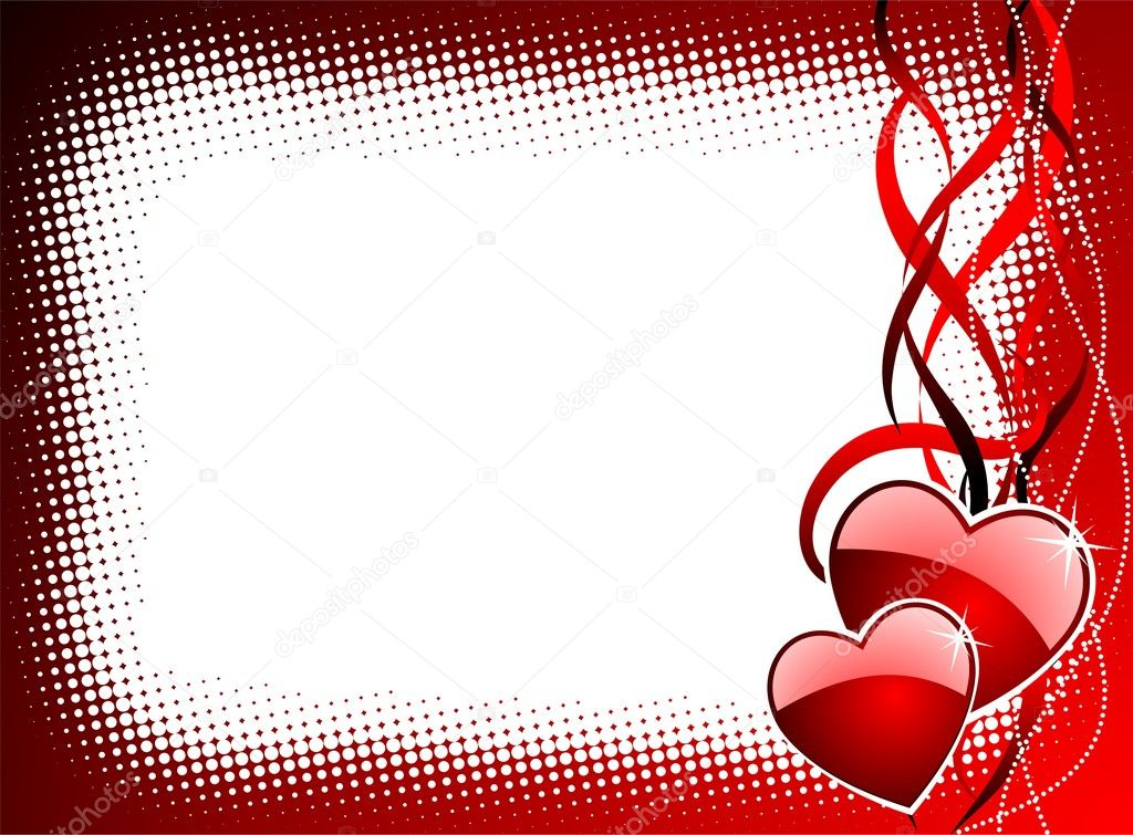 Valentine's day illustration with glossy red hearts — Stock Vector #12096509