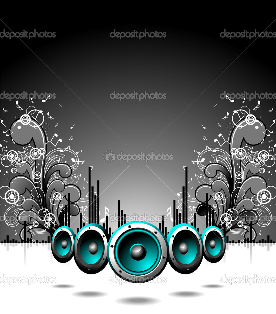 Vector speakers with grunge floral elements on a dark background. — Stock Vector #12097011