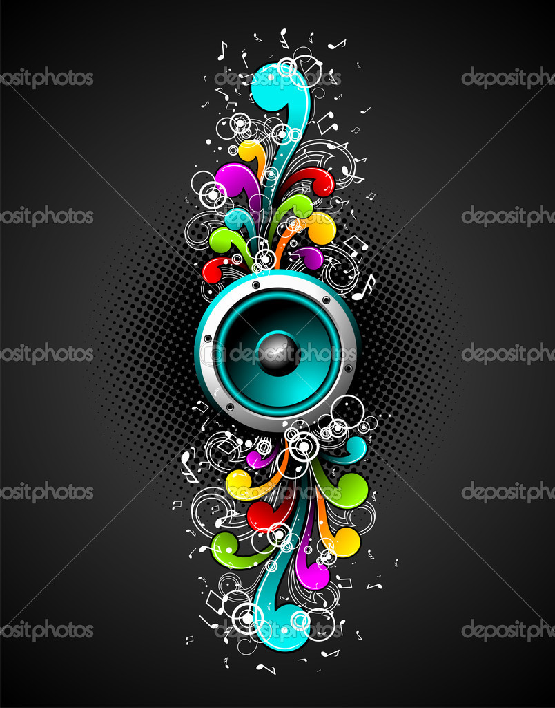 Vector speakers with colorfull grunge floral elements on a dark background.  Stock Vector #12097013