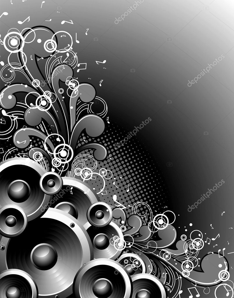 Vector speakers with grunge floral elements on a dark background. — Stock Vector #12097018