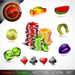 Vector icon collection on a casino and fortune theme. — Stock Vector #12195117