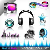 Vector icon collection on a music and media theme. — Stock Vector