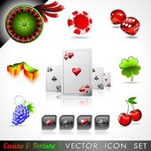Vector icon collection on a casino and fortune theme. — Stock Vector