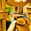 Love padlocks on the bridge — Stock Photo