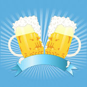 Two beer mugs and wave — Stock Vector