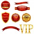 Red Quality labels — Stock Vector